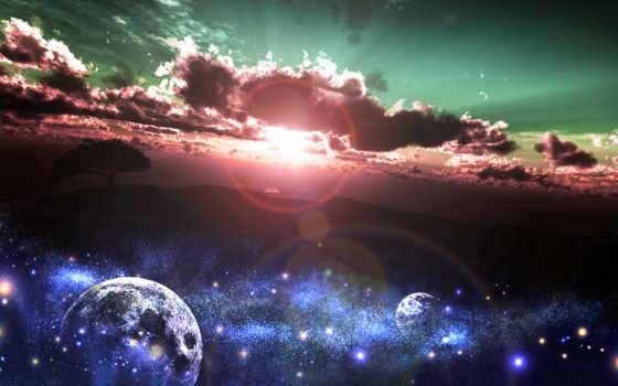 небо, звезды, land, планеты, oblaka, sun, cosmos, art, дерево, закат, природа,