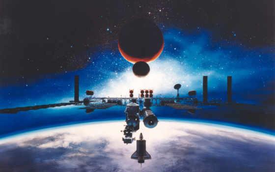 космическая, станция, art, красивые, sci, cosmos, ipad, луна,