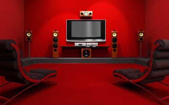 home, room, red, кинотеатр, красной, комнате, movies, house, with, акустика, кресло, theater, разрешении, вернуться, динамики, download,