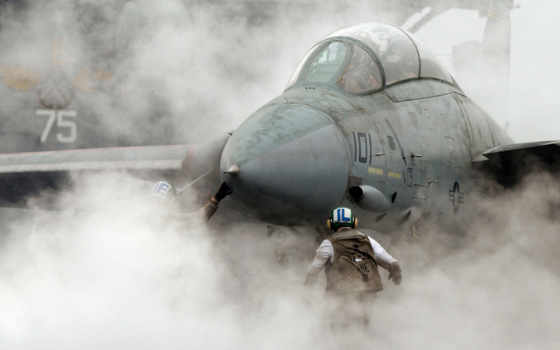 дым, авианосец, истребитель, картинка, самолёт, tomcat, взлёт, this,