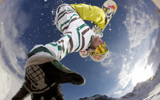 спорт, сноуборд, доска, snowboarding, прыжок, снег, зима, горы, небо, очки, облака, природа, картинку, картинка, кнопкой, lens, gari, выберите, fisheye, мыши,