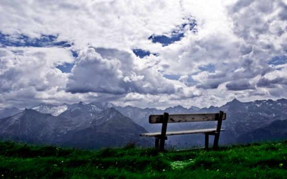 горы, вершине, небо, скамейка, видом, пейзажи -, природа,