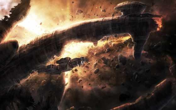 чужие, метеориты, корабль, art, cosmos, остов, radojavor, alien, станция,