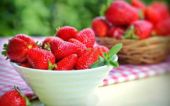 клубника, чаша, спелая, красная,  berries, красные, strawberry,