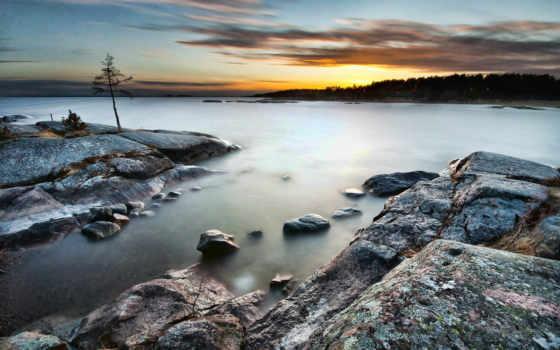 скалы, android, ночь, free, озеро, восход, misty, картинка,