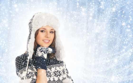 девушка, winter, красивый, шапка, варежка, sweater, одежда, природа, друг, attractive