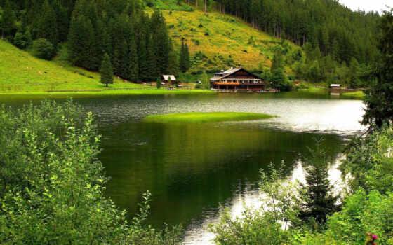 природа, река, горы, деревья, house, лодки, пастбище,