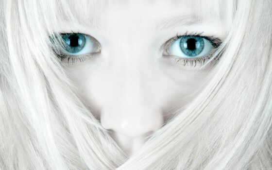 голубые, глаза, девушка