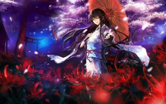 anime, кимоно, art
