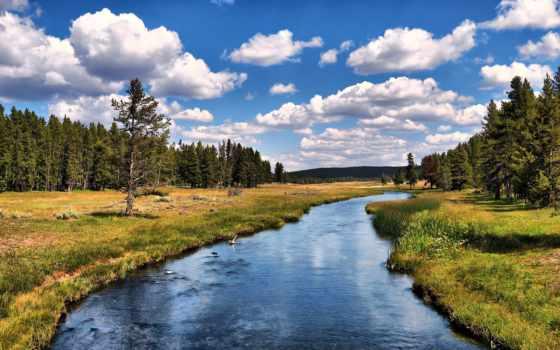 река, landscape, reki, горы, природа, summer, берега, trees, небо, лес,