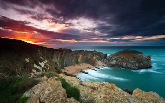 сол, del, puesta, paisajes, costa, naturaleza, мар, cielo, oceano, color,