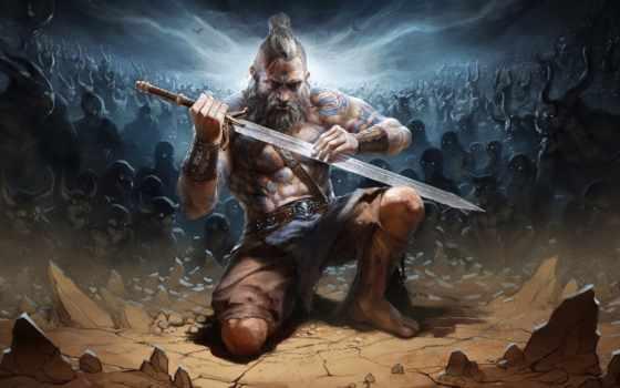 diablo, barbarian, reaper, souls, iii, art, fan,