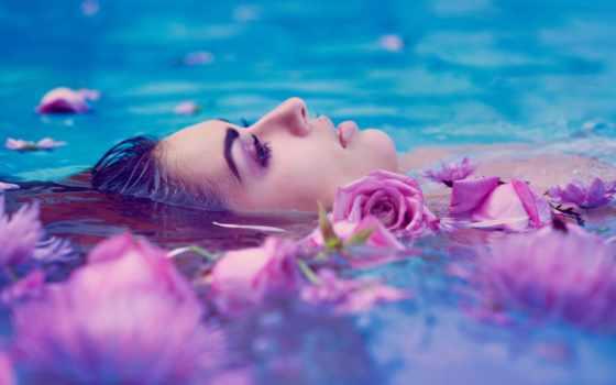 девушка, воде, лежит, cvety, among, water, спа, роз, разных, devushki,