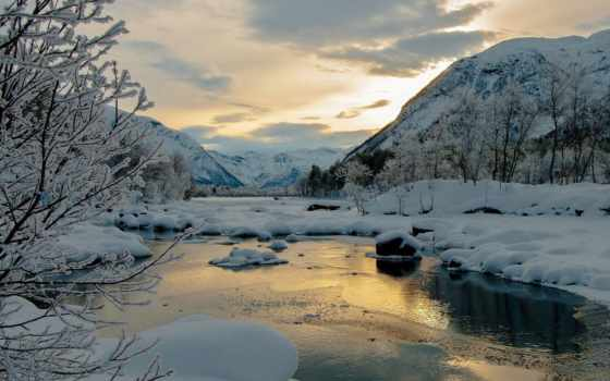 winter, река, снег, trees, горы, горная, nevados, лед, paisajes,
