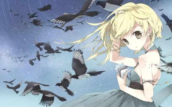 девушка, anime, птицы