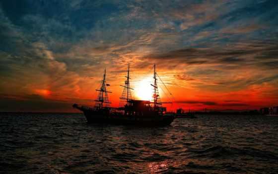 корабль, море, закат