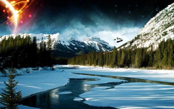 день, солнечный, гора, лес, река, ретушь, shirokoformatnyi, winter