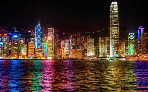 ночь, город, огни, живопись, посылка, knowledge, digital, market, hong