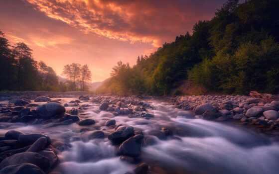 река, небо, рассвет, камень, hill, гора, дерево, sozel