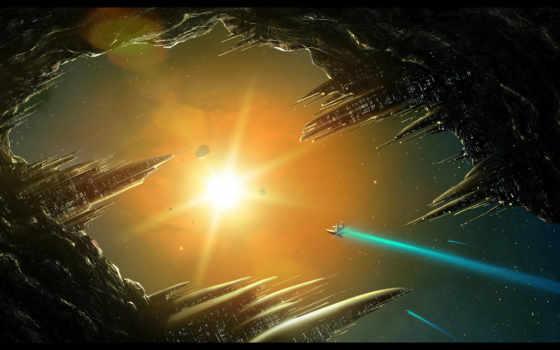 корабль, солнцу, летит, солнце, космос, астероид,