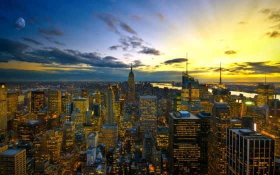 ciudades, вечер, descripción