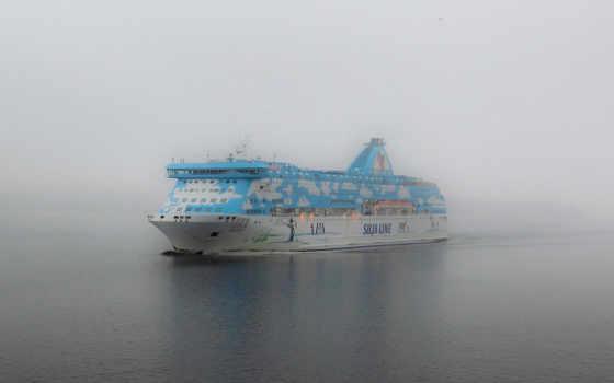 корабль, море, лайнер, туман, bay, galaxy, причал,