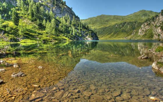 hdr, небо, дек, austrian, горы, янв, озеро, камни, oblaka, landscape, club,