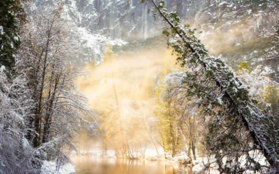 природа, winter, года, time, trees, река, снег, картинка, дома, листва, графика,