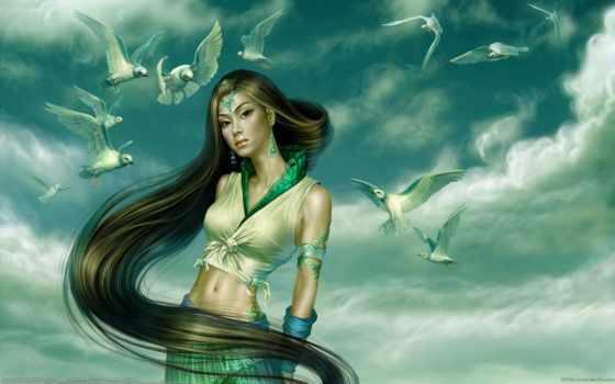 девушка, вышивки, чайки, взгляд, devushki, волна,