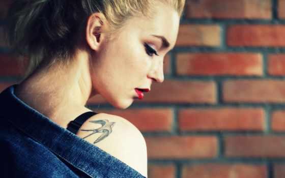 татуировка, девушка, стена, blonde, free,