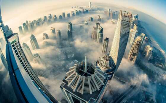 dubai, небоскрёб, город, взгляд, первую, туман, height