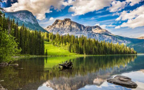 озеро, emerald, banff, park, national, гора, отражение, канада, mac