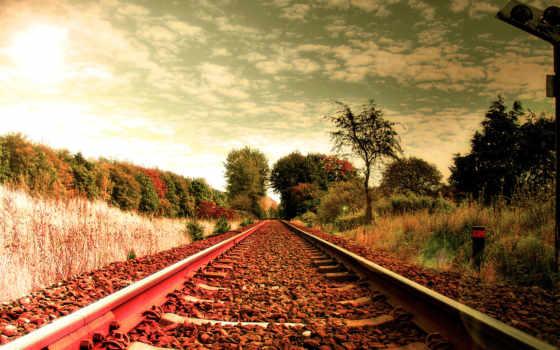 ,спокойствие, дорога,небо,шпалы,