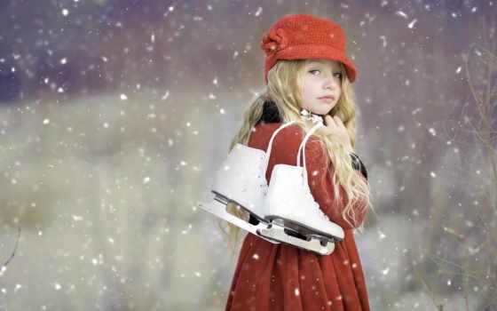 девушка, коньками, sweetheart, ребенок, снежном, фоны, fone, nice, маленькая, children,