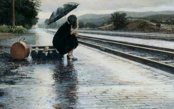 зонтиком, осень, девушка, под, непогода, женщина, дождь, зонтом, why, интересное, туманится,