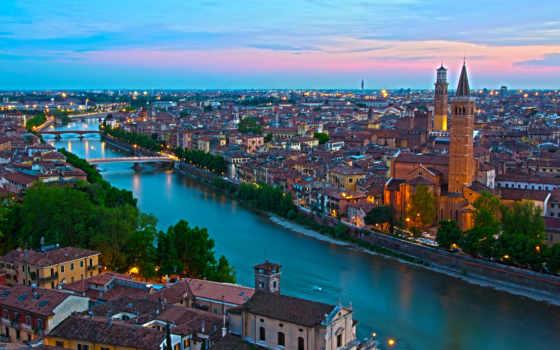 italian, trento, borgo, verona, water, города, сверху, канал, дома,