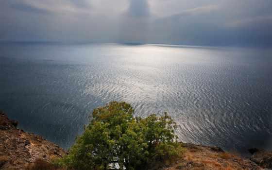 горы, чёрное, закат, слияние, море, горизонта, крымский, морем, берег, пляж,