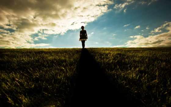 поле, девушка, трава, прогулка, dark, настроение, чудес,