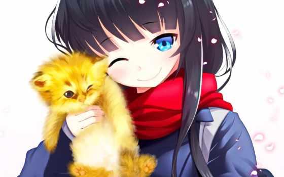 anime, кот, девушка