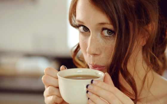 чая, девушка, веснушки, pet, cup, coffee, молокочай, лицо, красная, макро, молоком,