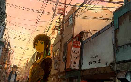 девушка, улица, japanese, улицы, город, провода, взгляд, идёт,