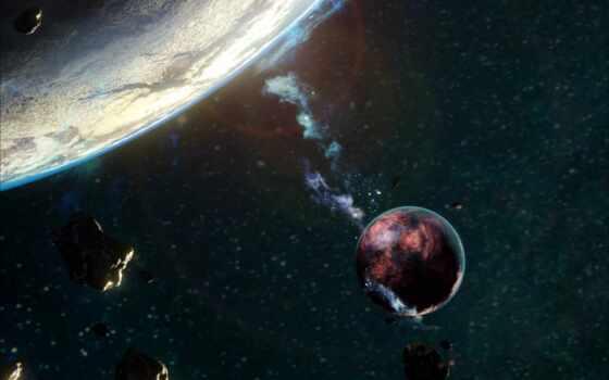 астероид, космос, planet, свет, пасть, galaxy, cosmic, атмосфера, nebula, спутник