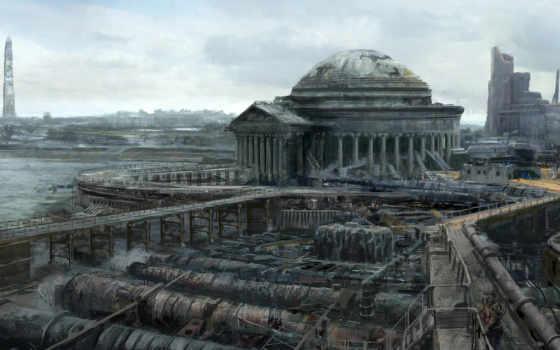 fallout, fantasy, art, руины, город, джеферсона, водоочиститель, иная, apocalypse, мемориале, разруха, washington, реальность, быстро, следующим, найти, эти, можно,