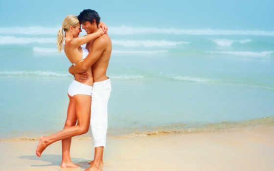он и она, море, пляж, улыбка, белый, объятия
