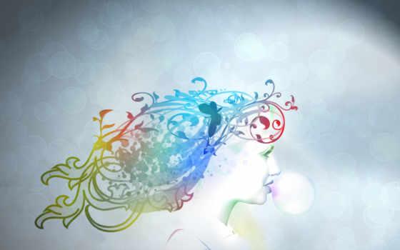 минимализм, пузыри, девушка, hallpic, изображения, цвет, жвачка,