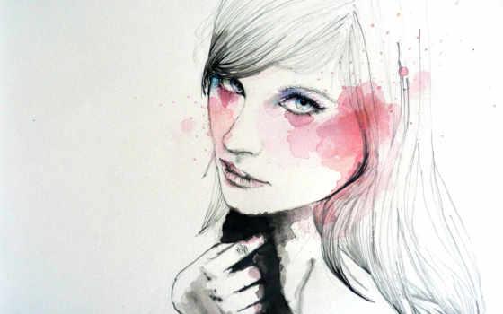 рисунок, девушка, art