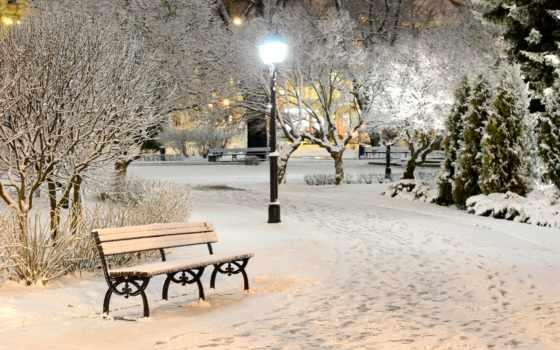 winter, фонари, снег