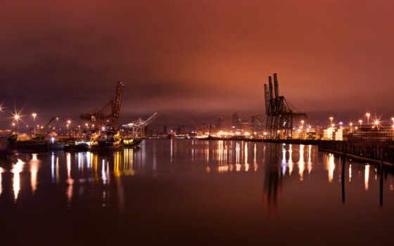 ночь, water, порт, Нью-Йорк
