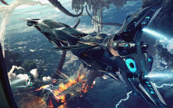будущего, корабли, космические