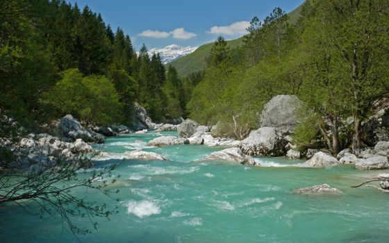 река, соча, бирюзовая, начало, горы, триглав, берет, неба, waters,